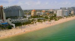 Stock Video Footage of Aerial view of Fort Lauderdale Beach along A1A