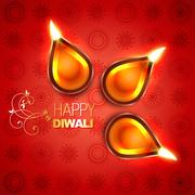 beautiful vector diwali diya - stock illustration