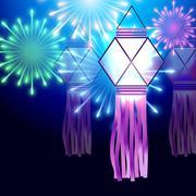 diwali festival background - stock illustration