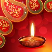 Stock Illustration of beautiful diwali diya