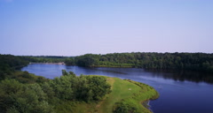 Christie Lake Conservation extreme wide Aerial shot Stock Footage