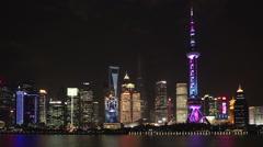 Shanghai Night Skyline Stock Footage
