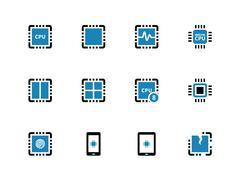 Processor unit duotone icons on white background Stock Illustration