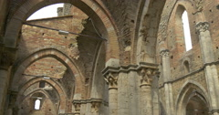 San galgano abbey interior pan Stock Footage