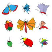 insects doodle set - stock illustration