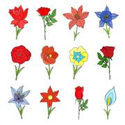 Doodles Flowers collection. Stock Illustration