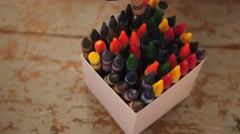 Stock Video Footage of Crayons from above