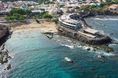 Stock Photo of Aerial view of Praia city in Santiago - Capital of Cape Verde Islands - Cabo