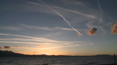 Contrails over Lake Tahoe Stock Footage