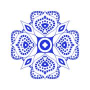 Round blue floral ornament - stock illustration