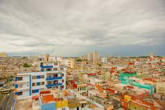 Panorama of Havana city Vedado District Stock Photos