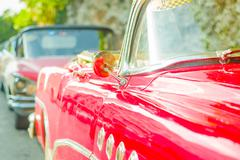 HAVANA, CUBA - AUGUST 30, 2015: Old classic American cars used for taxi and Stock Photos