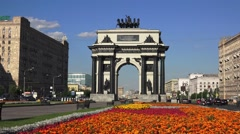 The Triumphal Arch (in 4k) near Park Pobedy, Moscow, Russia. Stock Footage