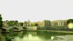 ULTRA HD 4K real time shot,The  Bridge over Tiber river in Rome, Italy Stock Footage