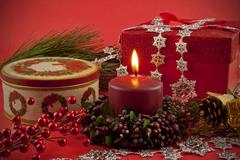Holiday Still life with lighted candle - stock photo
