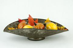 Gourds & Autumn Leaves - stock photo