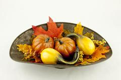Gourds & Autumn Leaves Stock Photos