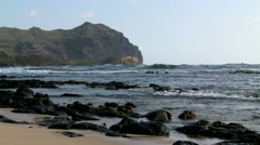 Rocky Coast with volcanic debris in Hawaii - stock footage