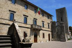Pietralunga city hall and lombard castle in Umbria - stock photo