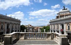 Capitoline Hill Piazza del Campidoglio form Pallazzo Senatorio - stock photo
