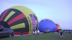 Inflating Hot Air Balloons For Night Glow Stock Footage