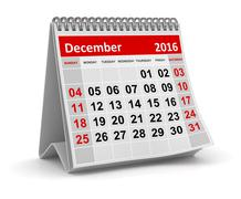 Calendar - December 2016 - stock illustration