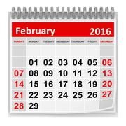 Calendar - February 2016 Stock Illustration
