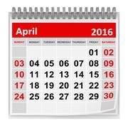 Calendar - April 2016 - stock illustration