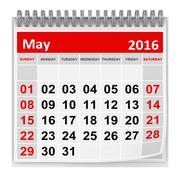 Calendar - May 2016 - stock illustration