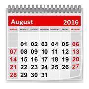 Calendar - August 2016 - stock illustration