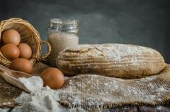 Home baked bread from sourdough rye - stock photo