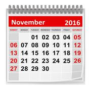 Stock Illustration of Calendar - November 2016