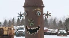 Snow Crow Winter Art Sculpture Stock Footage