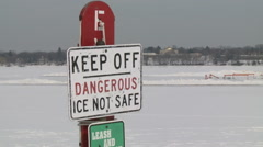 Even in Minnesota Thin Ice Can Be a Hazard Stock Footage