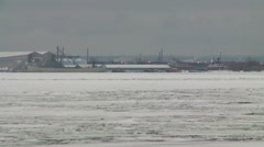 Frozen Harbor in Duluth, MN Dead of Winter Stock Footage