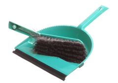 Stock Photo of Green sweeping brush and dustpan for house work. Cleaning. Isolated on white