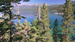 Lake Tahoe through Sunny Trees panning left to right Stock Footage