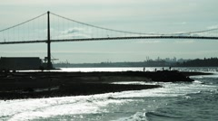 Lions Gate Bridge from West Vancouver BC Canada Stock Footage
