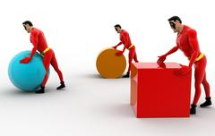 3d three superheros pushing and rolling cube, sphere and cylinder concept Stock Illustration