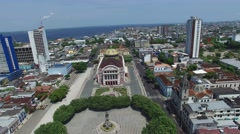 Aerial view of Amazon Theater in Manaus, Brazil Stock Footage
