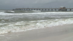 Waves On Gulf COast Shore as Tropical Storm Nears Stock Footage