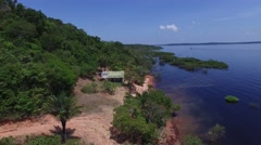 Stock Video Footage of Aerial view of Rio Negro Coast in Amazon, Brazil