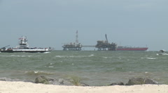 Busy Gulf of Mexico With Rough Water and Boats Stock Footage