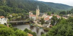 Famous historical panorama of Rozumberk town 160 km or 100 miles south of Pra - stock photo