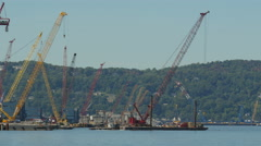4K New Tappan Zee Bridge Tugboat Moves Barge-Mounted Crane Stock Footage