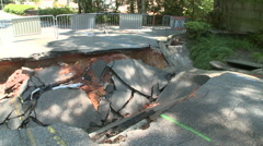 Road Closed Sink Hole Damage Stock Footage