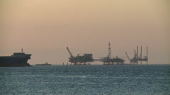 Oil Platforms and Tanker in Gulf of Mexico Stock Footage