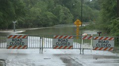 Road Closed Due To Heavy Flooding Stock Footage