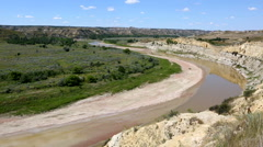 Theodore Roosevelt National Park Little Missouri River Pan Stock Footage