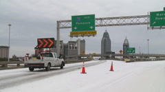 Ski Alabama Road Closed from Southern Winter Storm Stock Footage